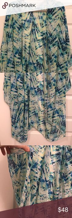 WONDERLAND HONOLULU sheer kimono shawl Green and blue patterned sheer polyester Wonderland Honolulu kimono type shawl. Can be worn over a graphic tee with shorts or even as a swim or beach coverup. Wear on your next girls trip to those Vegas pool parties, a trip to the beach, or on a vacation to Mexico! No measurements or modeling but open to reasonable offers. In good condition. Wonderland Honolulu Other