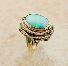 Antique 14kt Yellow Gold Opal, Seed Pearl and Enameled Ring