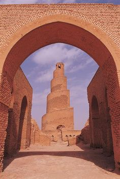 This picture is from the UNESCO World Heritage Site. This spiral minaret was built out of mud brick in the 9th century, when Samarra was the capital of the Abbasid Caliphate. It is in Iraq, 125 kms north of Baghdad. The minaret is part of the Abbasid palace complex, which is still has over 80% of the structure to be excavated.
