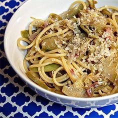 Mario Batali's recipe for Spaghetti with Artichokes and Pancetta