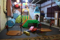 Katydid and Kid: Winter Boredom Buster: Unfinished Basement Playroom Unfinished Basement Playroom, Basement Craft Rooms, Basement Gym, Basement Laundry, Basement Remodeling, Basement Ideas, Playroom Ideas, Unfinished Basements, Basement Makeover