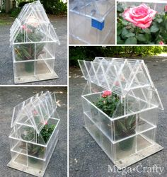 Case Greenhouse Tutorial DIY greenhouse made from CD cases. Now that's green! (from Meg Crafty)DIY greenhouse made from CD cases. Now that's green! (from Meg Crafty) Diy Mini Greenhouse, Homemade Greenhouse, Greenhouse Plans, Outdoor Greenhouse, Greenhouse Wedding, Cd Diy, Plastik Recycling, Garden Projects, Diy Projects