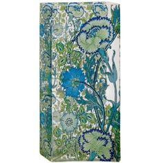 """Wedding gift:Glass Vase for Flowers 11.5"""" Tall Blue Floral Gift Boxed William Morris Design"""