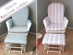 Runs With Spatulas: Crafty Fridays: How to Recover a Glider  We recently purchased a Dutailier glider on Craigslist for $50! It desperately needs a new cover...we'll see if I'm up to the task!