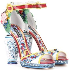 Dolce & Gabbana Printed patent leather sandals Put a pep in your step with Dolce & Gabbana's beautifully rendered leather sandals Gucci, Burberry, Jimmy Choo, Dolce & Gabbana, John Galliano, Leather Sandals, Patent Leather, Shoes Sandals, Calf Leather