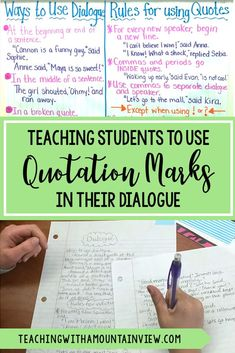 Teaching with a Mountain View You saved to Teaching With a Mountain View Teaching narrative writing in upper elementary? It's the perfect time to teach students how to use dialogue in writing and the rules for using quotation marks. Check out a few of the activities we did to learn this important skill in fourth and fifth grade. #5thgrade #4thgrade #writinglesson