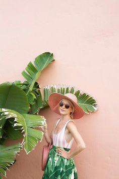 Swimsuit worn as top:Solid and Stripes. Skirt:PartySkirt. Hat:Eugenia Kim. Bag:Mansur Gavriel. Sunglasses: Old,similar hereandhere. Flats: Chanel (similar hereandhere)