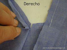 cortes-oblícuos Sewing Hacks, Sewing Tutorials, Sewing Projects, Tutorial Sewing, Easy Sewing Patterns, Dress Patterns, Sewing Clothes, Diy Clothes, Sewing Collars