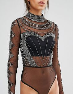 Image 3 of Maya Tall Long Sleeve High Neck Body With Embellished Bodice And…