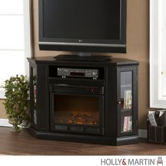 Holly  Martin Ponoma Convertible Media Electric Fireplace in Black ** Click image to review more details.