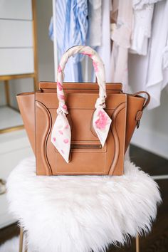 how to tie a silk scarf on your handbag