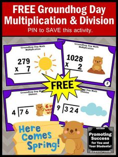 You will receive FREE printable multiplication and division task cards to use in your math centers or stations for teaching 4th grade, 5th grade or students with special education needs. They feature a groundhog theme. Classroom teachers may use them in their math centers or stations as a Common Core review, formative assessment, games of SCOOT, a scavenger hunt or other fun activities for your lesson plans.4.NBT.B.5
