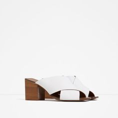 Image 2 of HIGH HEEL CROSSOVER LEATHER SANDALS from Zara