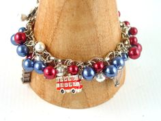 London Themed Charm Bracelet  Red White and Blue  by Pookledo, £25.00