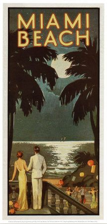 Miami beach vintage travel poster