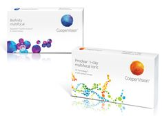 Packaging and brand identity with watercolour illustrative detail for contact lens brand Coopervision