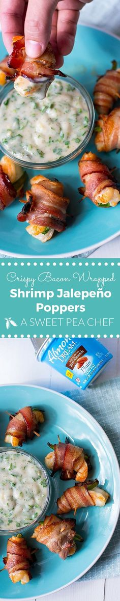 Crispy Bacon-Wrapped Shrimp Jalapeno Poppers Recipe with Cilantro Lime Dipping Sauce - the perfect dairy-free and healthy appetizer for game day!
