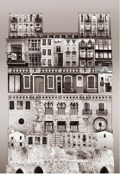 """Large scale architectural collages by Anastasia Savinova. Each collage is meant to reveal """"spirit"""" of a particular country or city. Spain /anastasiasavinova.com/"""