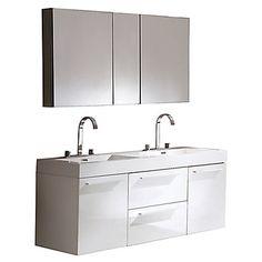 Fresca Senza Double Opulento Modern Bathroom Vanity Set with Mirrored Medicine Cabinet Base Finish: White Double Sink Bathroom, Double Sink Vanity, Vanity Set With Mirror, Single Bathroom Vanity, Vanity Sink, Modern Bathroom, Bathroom Vanities, Double Sinks, Bathroom Showers