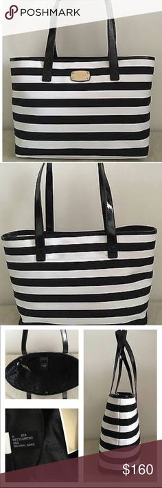 "NWT MK Summer Stripe LG E/W Tote New Summer Stripe Large E/W Tote in Black & White Sturdy Canvas with Black Patent Leather Handles & Trim! It has Logo lining, 1 zip, multiple slip pockets, exterior has a slip pocket in back, finished off with gold hardware and snap closure. Double handle drop is 12"" Amazing tote right here! Measures 13 at base 16 at top X 10 X 5🚫no trades price firm🚫 Michael Kors Bags Totes"