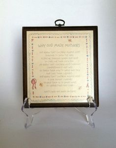 Vintage Hallmark 1979 Wooden Wall Plaque Why God Made Mothers by GrandmomsPennies, $10.00