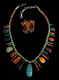 Beautiful Multi Colored Stone Necklace and Complimentary Color Earrings - Native American and Southwest Art and Jewelry. Turquoise Tortoise Gallery, Sedona