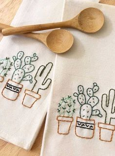 Your place to buy and sell all things handmade - Southwest Western Cacti Hand E. - Your place to buy and sell all things handmade – Southwest Western Cacti Hand Embroidered Cactus - Embroidered Cactus, Cactus Embroidery, Towel Embroidery, Hand Embroidery Patterns, Embroidery Stitches, Embroidered Towels, Broderie Simple, Tea Towels, Hand Towels