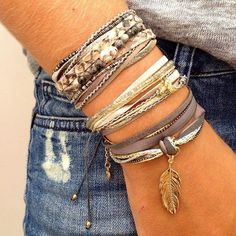 Boho bracelets. I like the neutral colors so they could be worn with almost everything.