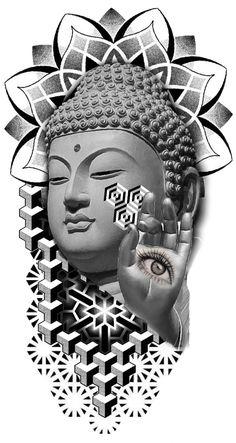 Geometric Henna Tattoo, Geometric Tattoo Design, Geometric Mandala, Buddha Tattoo Design, Compass Tattoo Design, 3d Dragon Tattoo, Flower Cover Up Tattoos, Buda Tattoo, Hip Tattoo Designs
