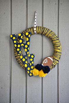 WVU Yarn Wreath #WVU #WV