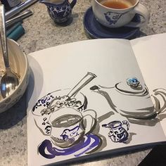 I filled a brush pen with cobalt ink to match colors. Food Sketch, Food Journal, Fountain Pen Ink, Mindful Eating, Writing Instruments, Brush Pen, Inktober, Cobalt, Colors