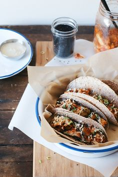Dolly and Oatmeal: Brussels Sprout Kimchi Tacos with Cashew Miso Crema