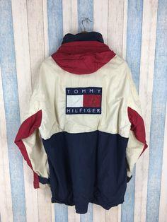 480230af5b9e0d TOMMY HILFIGER Jacket Large Vintage 90 s Sportswear Tommy Colorblock Hoodie  Tommy Athletic Trainer Multicolor Jacket Parka Size L