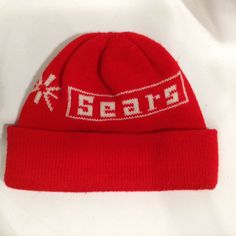 87078a2a Sears Vintage Winter Ski Hat Red Advertising Knit Stocking Toboggan Knit Cap  Red Pictures, Wonderful