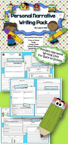 Narrative writing unit for summer memories, first day of school, loosing a tooth and many more!!