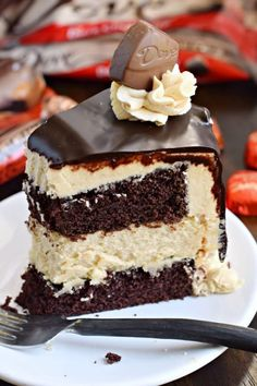 This stunning Chocolate Peanut Butter Cheesecake Cake has layers of homemade chocolate cake and peanut butter cheesecake. Topped with a creamy peanut butter frosting and dark chocolate ganache, this cake is sure to satisfy that sweet tooth!: