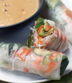 Vegetable Summer Rolls. Spicy Peanut Sauce. Vegetarian - sub fish sauce with light soy & sugar.