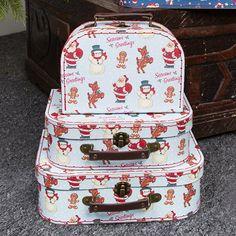 Set of 3 Retro Santa Suitcases | Storage and Tupperware | Sass & Belle