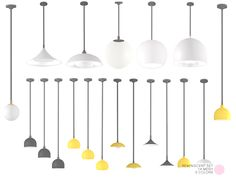 Reminiscent Retro Set. 14 Contemporary yet Retro ceiling lamps. High gloss finished lighting made of Glass with Metal fittings. Each ceiling lamp mesh with 5 colors in white, green, yellow, green...