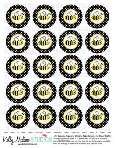 Bumble Bee - Black - 1.5 inch Circle Digital Printable Sheet - Commercial use for Cupcake Toppers, Magnets, Paper Crafts and Products on Etsy, $2.99