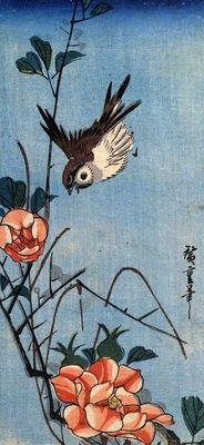 Sparrows and wild rose by Hiroshige. Order from DEKORAMI as a poster, canvas print, mural. Zamów jako obraz na płótnie, plakat lub fototapetę na DEKORAMI.pl.