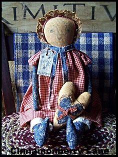 Primitive Folk Art Americana Prairie Doll With Heart 1776 #NaivePrimitive #Artist
