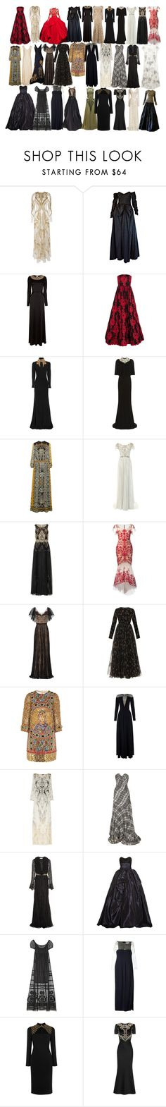 """""""Mary Stuart Dress"""" by taught-to-fly19 ❤ liked on Polyvore featuring Temperley London, Marchesa, Ceil Chapman, Georges Mak, Alice + Olivia, Alexander McQueen, Etro, Notte by Marchesa, Dolce&Gabbana and Balmain"""