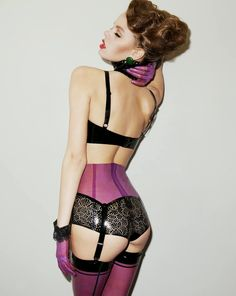 fear-and-loathing-in-latex: Sexy latex lingerie from Atsuko Kudo Lingerie Chic, Luxury Lingerie, Purple Lingerie, Fetish Fashion, Latex Fashion, Mode Latex, Bleu Violet, Latex Girls, Sexy Latex
