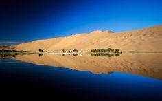 Oasis, Erg Chebbi Western Sahara desert