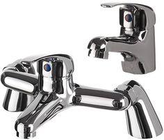Bathroom taps pack £75 Bath Taps, Bathroom Taps, Basin Mixer, Cool Kitchens, Chrome, Brass, Shower, Modern, Rain Shower Heads