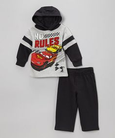 Love this Gray 'No Rules' Cars Pullover Hoodie & Pants by Disney•Pixar Cars on #zulily! #zulilyfinds