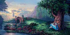 Alice in Wonderland - Dreaming of Wonderland - Original by Rodel Gonzalez presented by World Wide Art Disney Dream, Disney Magic, Thomas Kinkade Disney, Disney Pixar, Disney Movies, Walt Disney, University Of Santo Tomas, Disney Fine Art, Disney Paintings