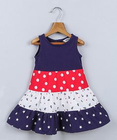Look at this #zulilyfind! Navy & Red Star & Polka Print Dress - Infant, Toddler & Girls #zulilyfinds