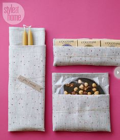 Fold a tea towel around another small Christmas gift (think taper candles, hand soaps or chocolate) to form a pouch and wrap some string around the package a few times for a decorative effect.